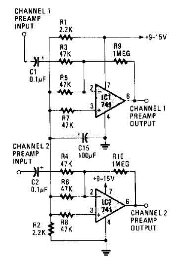 stereo preamplifier circuit  741  - amplifier circuit - circuit diagram