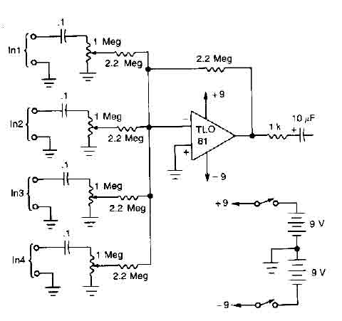 Awesome 4 Microphones Mixer Circuit With Tl081 Audio Circuit Circuit Wiring Digital Resources Hutpapmognl