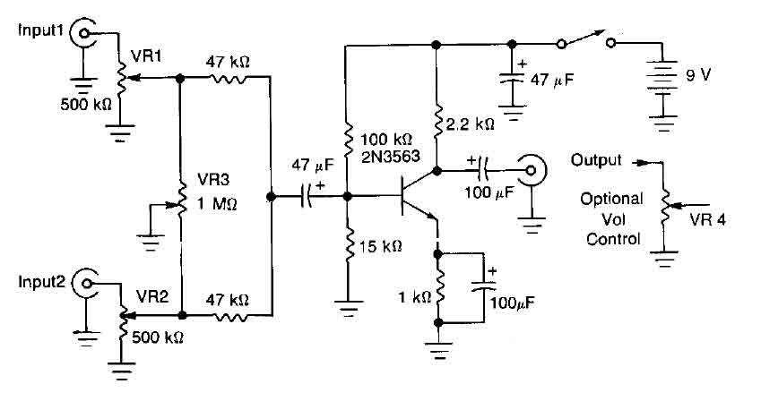 Incredible One Transistor Audio Mixer 2N3563 Mixer Audio Circuit Wiring Database Ioscogelartorg