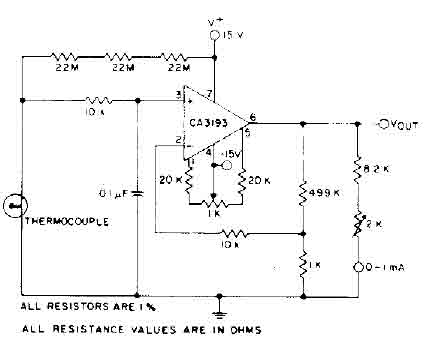 thermocouple amplifier circuit ca3193 amplifier circuit rh seekic com
