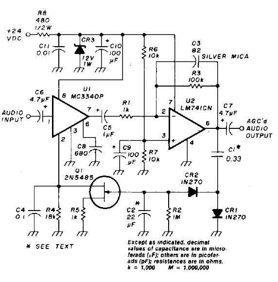 auto gain control op-amp circuit - amplifier circuit - circuit diagram
