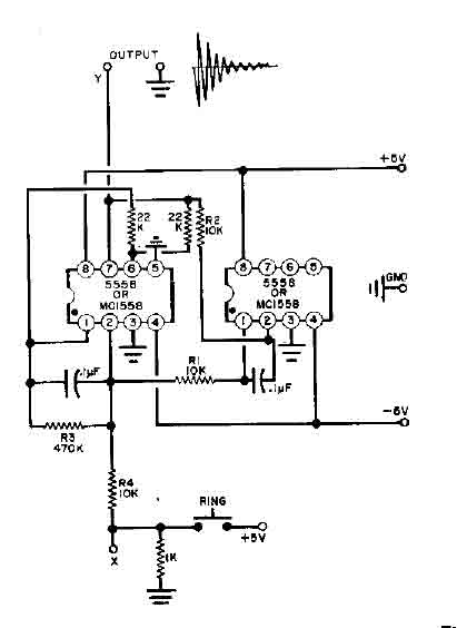 bell circuit with two 555 timers - electrical equipment circuit - circuit diagram