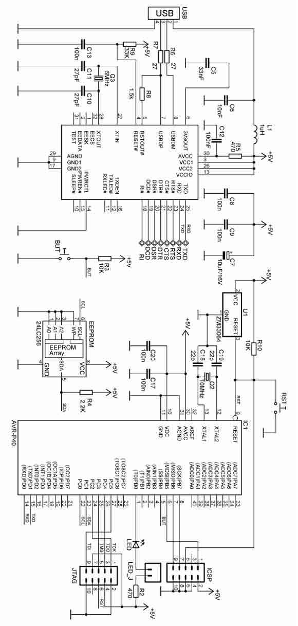 avr-p40-usb-8535 board for at90s8535 - basic circuit - circuit diagram