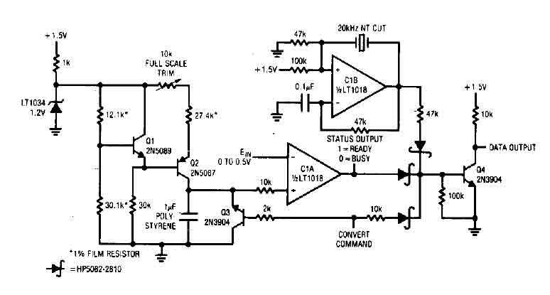 a  d converter with lt1018 - a-d converter - a-d d-a converter circuit - circuit diagram