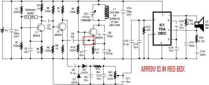 metal detector circuit with tda2822