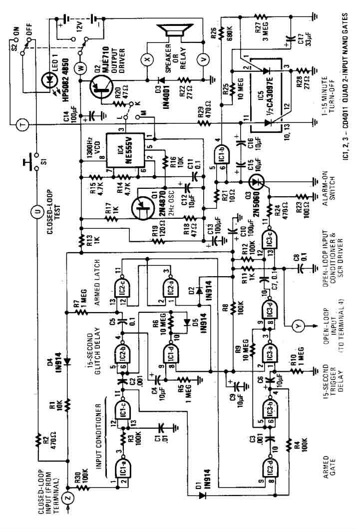 simple house alarm circuit - alarm control