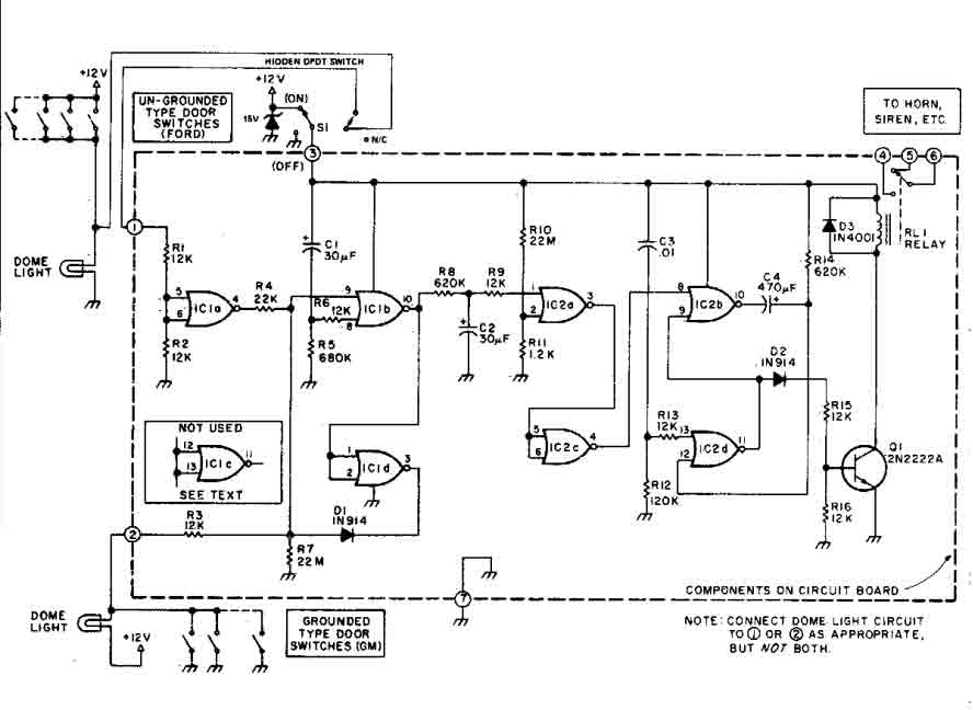 car alarm security circuit - alarm control - control circuit - circuit diagram