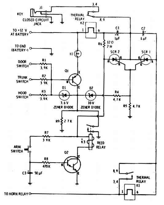 auto-arming car alarm circuit - alarm control - control circuit - circuit diagram