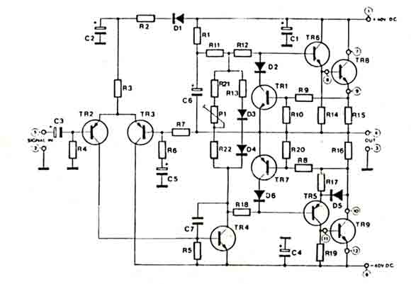 hi-fi audio amplifier 60w - amplifier circuits-audio - amplifier circuit