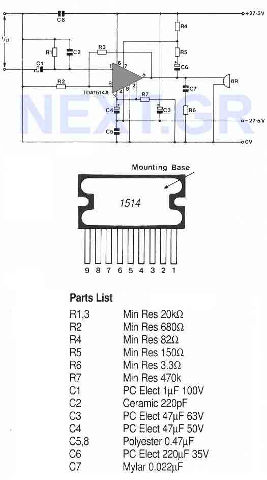 This very high quality audio amp is based on the TDA1514A, a 9-pin flat package IC.