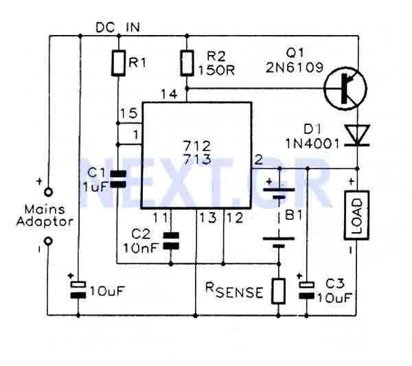 fast charge controller with max712    max713 - control circuit - circuit diagram