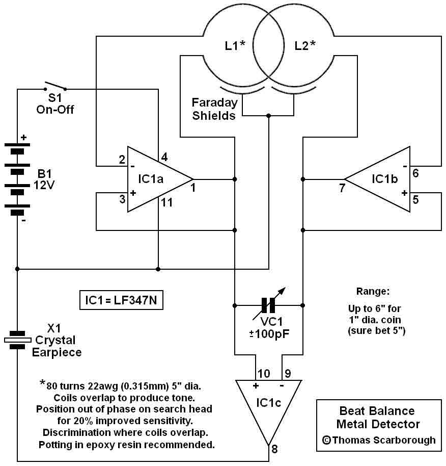 Metal Detector 5 Basiccircuit Circuit Diagram Seekiccom Wire Data 191516 Grant Six Model 39t39 Wiring Bfo Using Lf347n Measuring And Test Rh Seekic Com