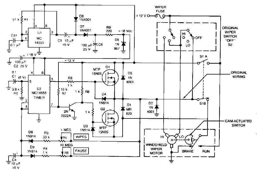 car windshield wiper delay - basic circuit - circuit diagram