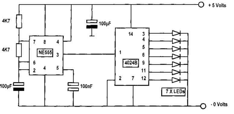 Binary Counter Using 555 And 4042b - Basic Circuit - Circuit Diagram
