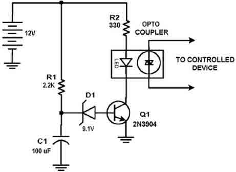 delay circuit with ne555 timer - basic circuit