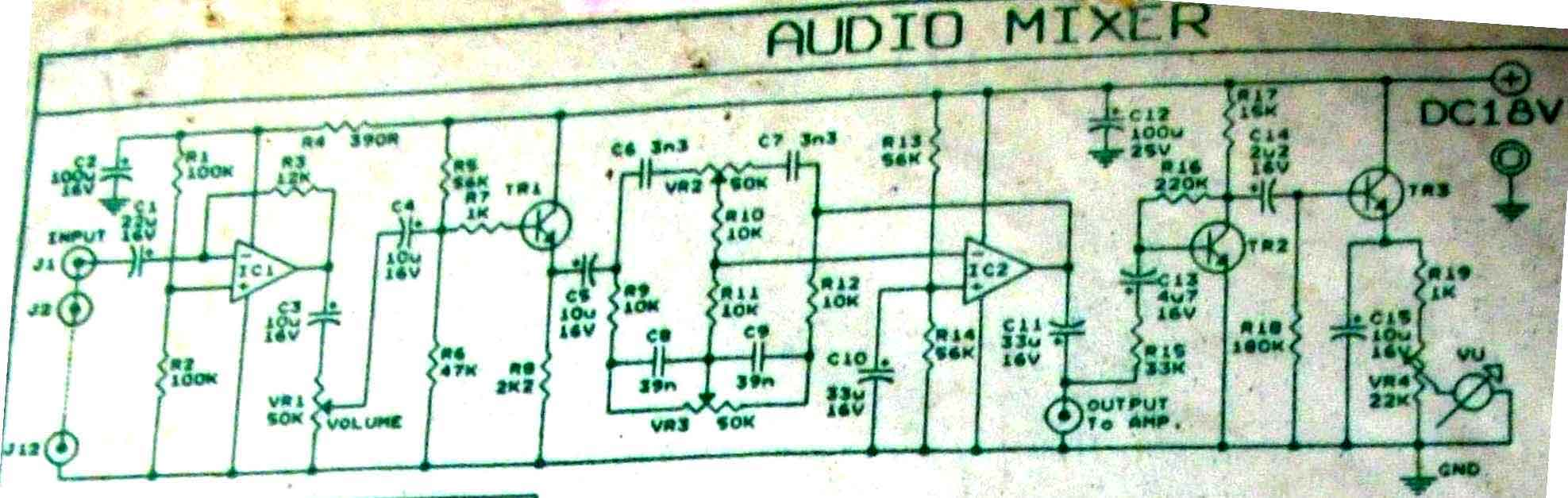 Vu Meter With Audio Mixer Circuit Measuring And Test Telephonerelatedcircuit Electricalequipmentcircuit