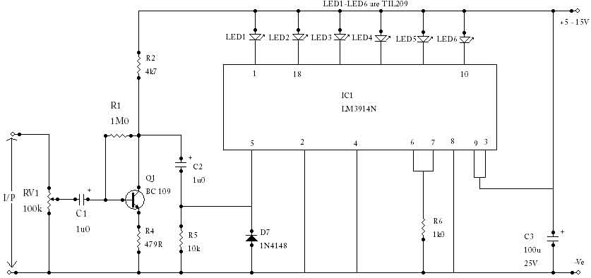 LED VU Meter with LM3914N - Measuring_and_Test_Circuit ... Vu Meter Schematic Diagram on generator schematic, compressor schematic, ph meter schematic, oscilloscope schematic, tone control schematic, transistor tester schematic, mixer schematic, multimeter schematic, voltmeter schematic, sensor schematic, lc meter schematic, capacitance meter schematic, amplifier schematic, analog meter schematic, lcd schematic, distortion schematic, lm3915 schematic, variac schematic, led schematic, current transformer schematic,