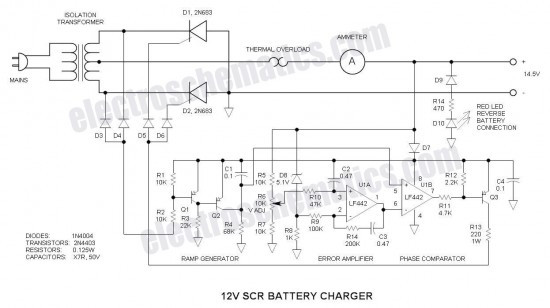 12v scr battery charger battery charger power supply circuit circuit diagram seekic