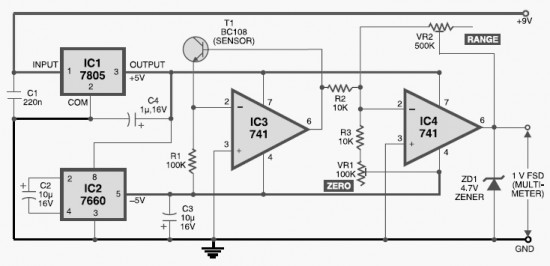 diy digital thermometer circuit - digital circuit - basic circuit - circuit diagram
