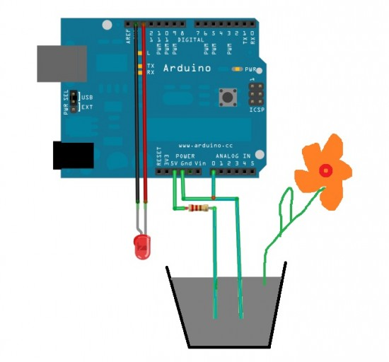 Simple soil moisture sensor – Arduino Project furthermore Index php additionally Rj12 Plug For Round Cable likewise How Arduino Power Supply Works likewise Flex Sensor Hookup Guide. on arduino voltage divider
