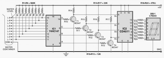 Numeric Water Level Indicator circuit - Measuring_and_Test_Circuit on