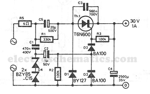 transformerless power supply 30v 1a - power supply circuit - circuit diagram