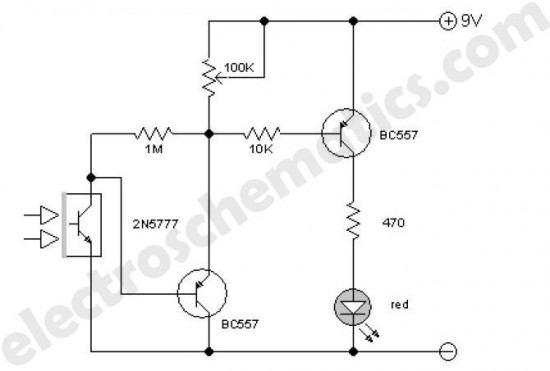 improved infrared detector circuit - measuring and test circuit - circuit diagram