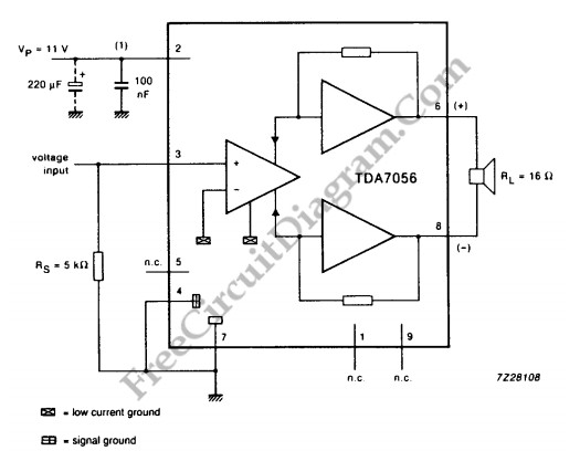 tda7056 3w btl mono audio power amplifier - audio circuit - circuit diagram