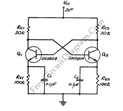 direct coupled discrete astable multivibrator basic With direct coupled discrete astable multivibrator circuit diagram