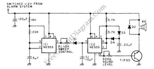 loud 10-w car alarm siren - audio circuit