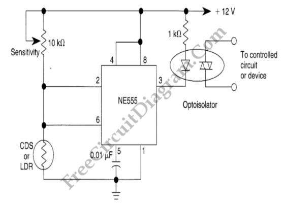 555 ic hysteresis for dark activated relay