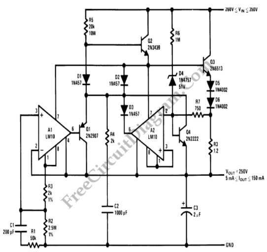 foldback current limited high voltage regulator - power supply circuit