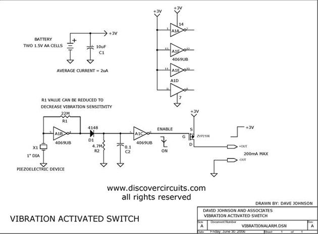 piezoelectric vibration sensor activates switch basic_circuit
