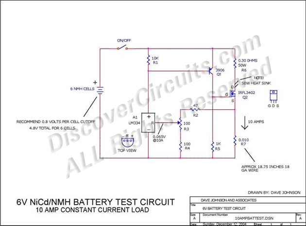 6V NiCd/NMH Battery Test Circuit - 10 Amp Constant Current ... on circuit schematic, charge controller schematic, negative pressure schematic, voltage regulator schematic, current clamp schematic, electronics schematic, current mirror schematic, pwm schematic, current source schematic,