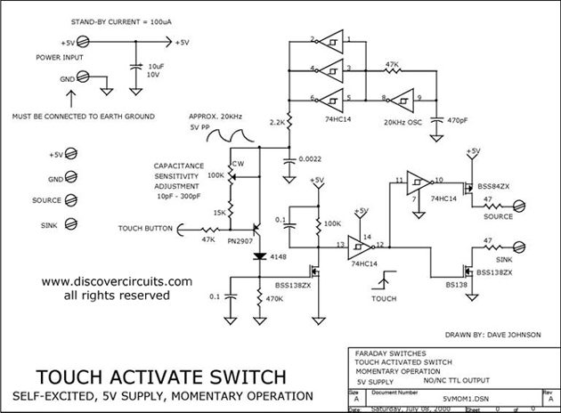 5v capacitance touch activated momentary switch basic circuit rh seekic com
