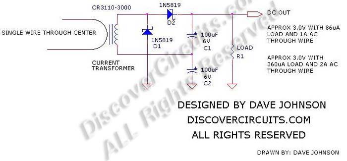 energy harvesting using a current transformer - basic circuit - circuit diagram