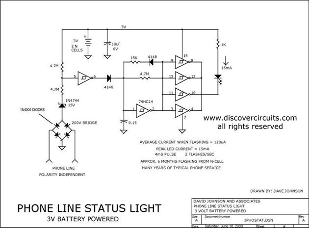 1 line telephone line status indicator basic circuit. Black Bedroom Furniture Sets. Home Design Ideas