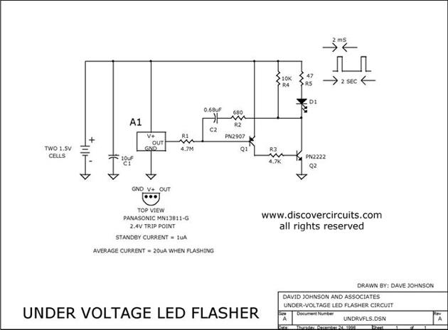 Three Volt Low Battery Voltage Flasher