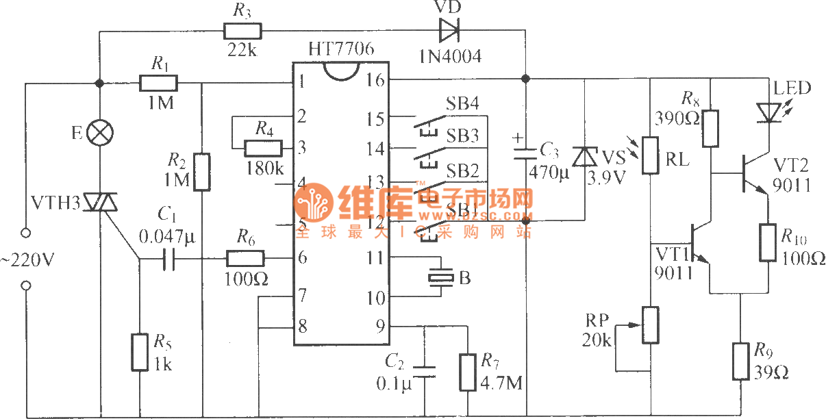multifunction dimming desk lamp circuit   ht7706   - led and light circuit