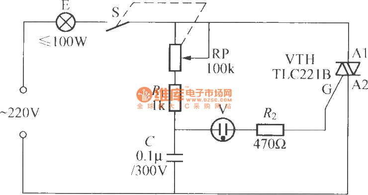 neon bulb triggered triac dimming light circuit