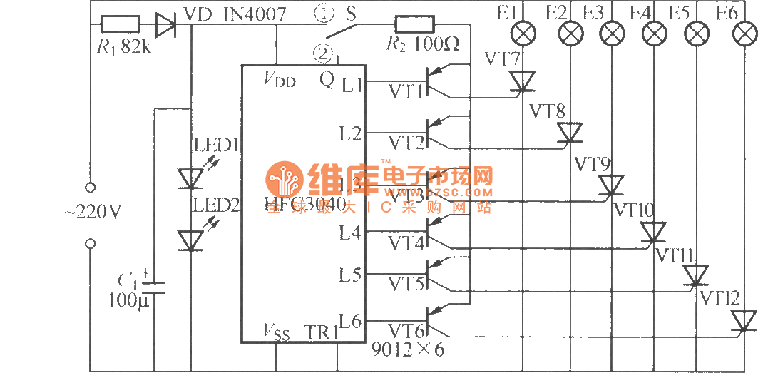 six-way flashing light string circuit  2   hfc3040