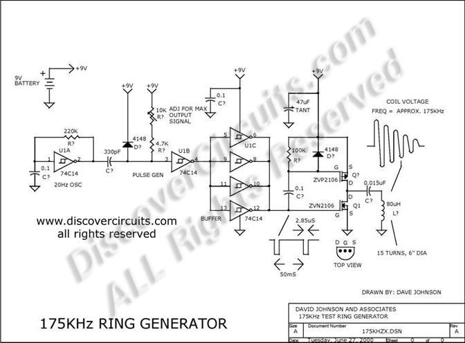 175khz inductive pulse transmitter - basic circuit - circuit diagram