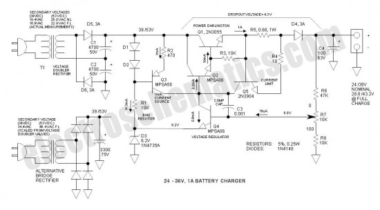 24v to 36v battery charger - basic circuit