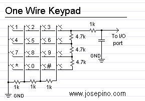 one wire keypad electrical equipment circuit circuit. Black Bedroom Furniture Sets. Home Design Ideas
