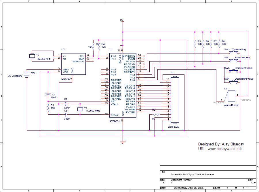 Digital Clock With Alarm Using Ds1307 Controlcircuit Circuit