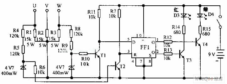 three-phase power supply phase sequence indicator circuit diagram - basic circuit