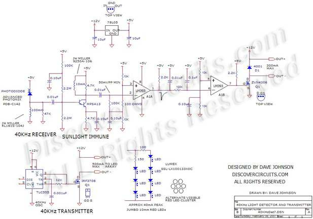 40khz light detector - measuring and test circuit - circuit diagram