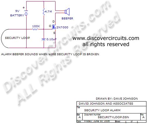 wire security loop alarm circuit - control circuit - circuit diagram
