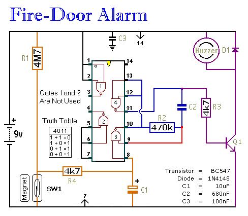 simple fire door alarm circuit control circuit circuit diagram rh seekic com