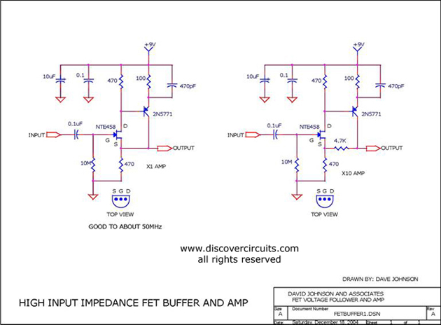 high impedance jfet buffers basiccircuit circuit diagram  index 19 analog circuit basic